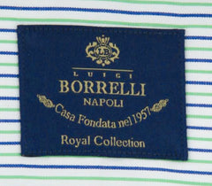New $600 Luigi Borrelli Green Striped Shirt - (EV06100150ACHILLE) - Parent