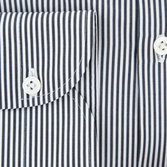 New $600 Luigi Borrelli Charcoal Gray Striped Shirt - (EV06101090RIO) - Parent