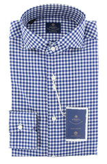 New $600 Luigi Borrelli Blue Check Shirt - Extra Slim - 15/38 - (EV06RC10273)