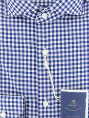 New $600 Luigi Borrelli Blue Check Shirt - Extra Slim - (EV06RC10273) - Parent