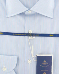 New $600 Luigi Borrelli Light Blue Striped Shirt - (EV0610574GIANNI) - Parent