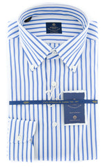 New $600 Luigi Borrelli Blue Shirt - Extra Slim - (EV06107570STEFANO) - Parent