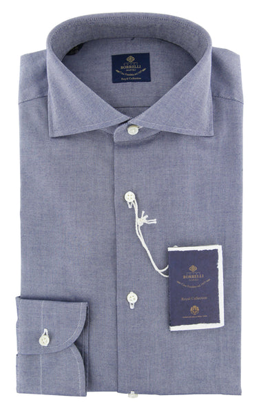 New $600 Luigi Borrelli Blue Solid Shirt - Extra Slim - (EV06RC11173) - Parent