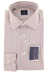 New $600 Luigi Borrelli Red Shirt - Extra Slim - (EV06RC130240) - Parent