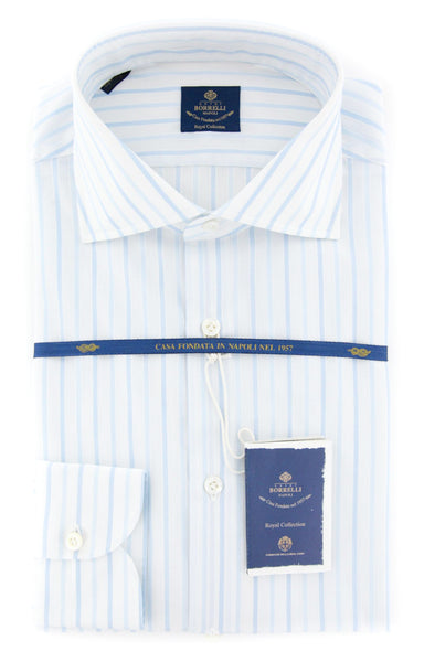 New $600 Luigi Borrelli Light Blue Striped Shirt - (EV061376ACHILLE) - Parent