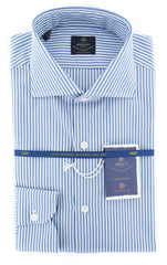 New $600 Luigi Borrelli Blue Shirt - Extra Slim - (EV061413NANDO) - Parent