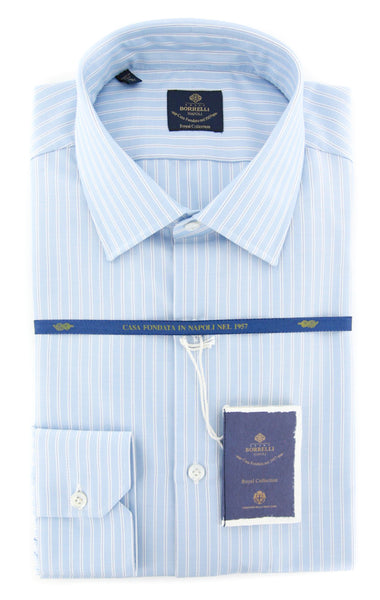 New $600 Luigi Borrelli Light Blue Striped Shirt - (EV061535SEVERO) - Parent