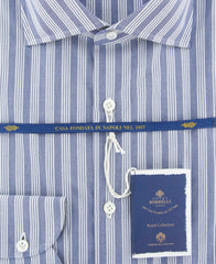 New $600 Luigi Borrelli Blue Shirt - Extra Slim - (EV061565DBACHILLE) - Parent