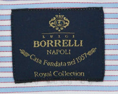 New $600 Luigi Borrelli Light Blue Striped Shirt - (EV061605NANDO) - Parent