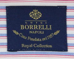 New $600 Luigi Borrelli Blue Shirt - Extra Slim - (EV061772ACHILLE) - Parent