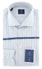 New $600 Luigi Borrelli Blue Shirt - Extra Slim - 15/38 - (EV061806ACHILLE)
