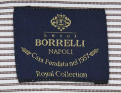 New $600 Luigi Borrelli Brown Shirt - Extra Slim - (EV062098STEFANO) - Parent