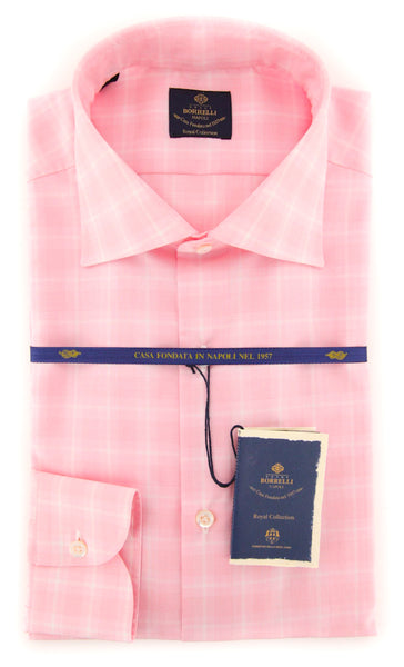 New $600 Luigi Borrelli Pink Plaid Shirt - Extra Slim - (EV062264RIO) - Parent