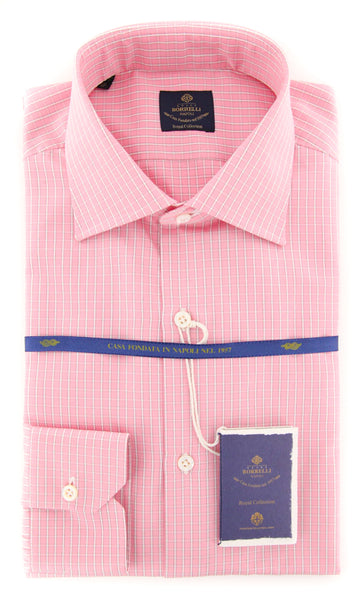 New $600 Luigi Borrelli Pink Check Shirt - Extra Slim - (EV062269RIO) - Parent