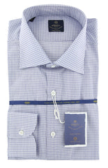 New $600 Luigi Borrelli Blue Check Shirt - Extra Slim - (EV06RC257400) - Parent