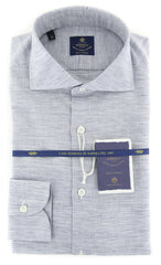 New $600 Borrelli Navy Blue Melange Shirt - Extra Slim - (201803213) - Parent