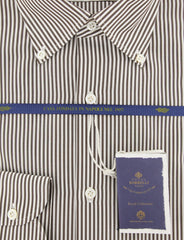 New $600 Luigi Borrelli Brown Shirt - Extra Slim - (EV06400460STEFANO) - Parent
