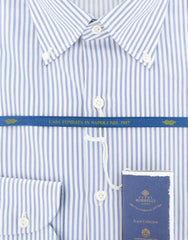 New $600 Luigi Borrelli Blue Shirt - Extra Slim - (EV06402372STEFANO) - Parent