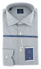New $600 Luigi Borrelli Gray Check Shirt - (EV06403130GIANNI) - Parent