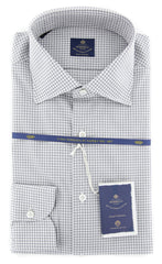 New $600 Luigi Borrelli Light Gray Check Shirt - (EV06403131GIANNI) - Parent