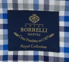 New $600 Luigi Borrelli Blue Shirt - Extra Slim - (EV06RC411870) - Parent