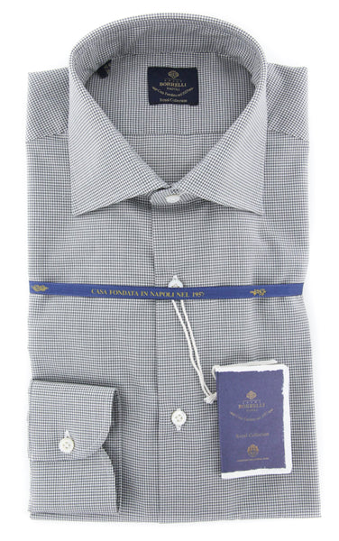 New $600 Luigi Borrelli Gray Shirt - Extra Slim - (EV06423131RIO) - Parent