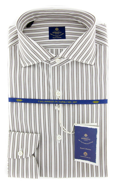 New $600 Luigi Borrelli Brown Shirt - Extra Slim - (EV06425860NANDO) - Parent