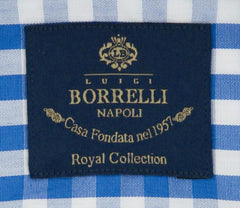 New $600 Luigi Borrelli Blue Shirt - Extra Slim - (EV06452071STEFANO) - Parent
