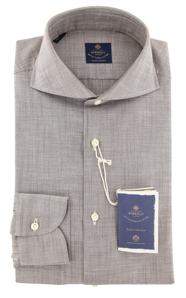 New $600 Luigi Borrelli Gray Shirt - Extra Slim - (EV06RC462961) - Parent