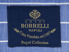 New $600 Luigi Borrelli Blue Shirt - Extra Slim - (EV06RC5091) - Parent