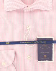 New $600 Borrelli Pink Micro-Check Shirt - Extra Slim - (2018032014) - Parent