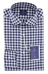 New $600 Luigi Borrelli Blue Plaid Shirt - Extra Slim - (EV06RC54970) - Parent