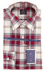 New $600 Luigi Borrelli Burgundy Red Plaid Shirt - (EV0657340STEFANO) - Parent
