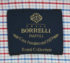 New $600 Luigi Borrelli Red Check Shirt - Extra Slim - (EV0668340RIO) - Parent