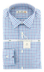 New $600 Luigi Borrelli Turquoise Check Shirt - Extra Slim - 15.5/39-(201803225)