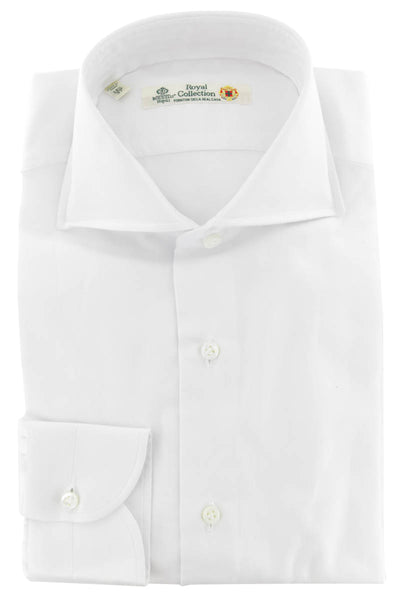 $600 Luigi Borrelli White Solid Cotton Shirt - Extra Slim - (312) - Parent