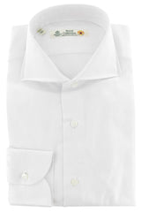 $600 Luigi Borrelli White Solid Cotton Shirt - Extra Slim - 14.5/37 - (312)