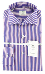 New $450 Luigi Borrelli Blue Striped Shirt - Extra Slim - 15.75/40 - (72LB1608)