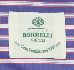 New $450 Luigi Borrelli Blue Striped Shirt - Extra Slim - (72LB1608) - Parent