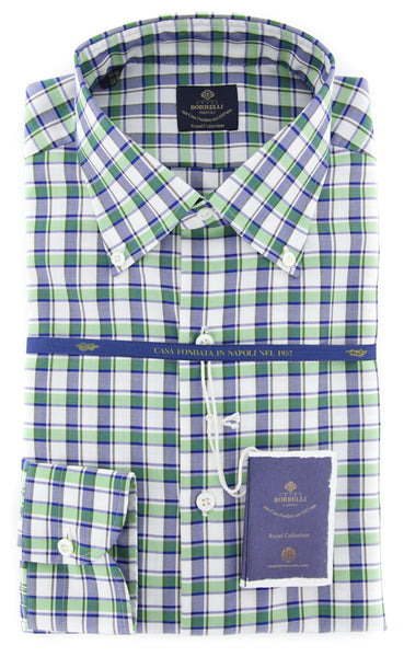 New $600 Luigi Borrelli Green Shirt - Extra Slim - (EV0620750STEFANO) - Parent