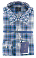 New $600 Luigi Borrelli Blue Plaid Shirt - 15.75/40 - (EV06414570STEFANO)