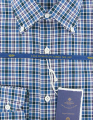 New $600 Luigi Borrelli Blue Plaid Shirt - (EV06414570STEFANO) - Parent