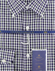 New $600 Luigi Borrelli Purple Plaid Shirt - Extra Slim - (EV0656780STEFANO) - Parent