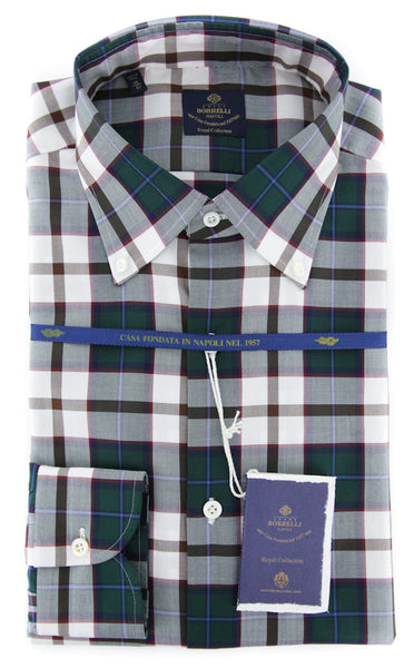 New $600 Luigi Borrelli Green Plaid Shirt - (EV0665650STEFANO) - Parent