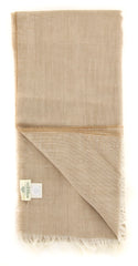 "New $400 Luigi Borrelli Beige Solid Long Scarf - 20.75"" x 72"" - (F112013FB507)"