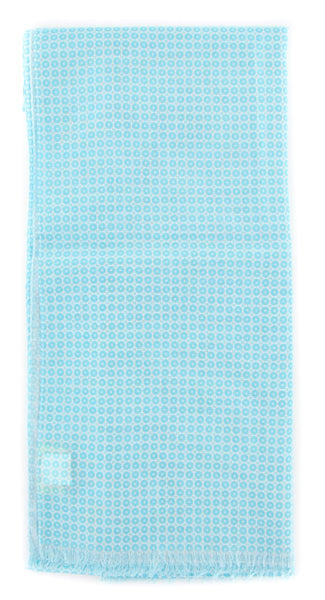 "$400 Luigi Borrelli Light Blue Foulard Long Scarf - 26.5"" x 76"" - (FB70F0441)"