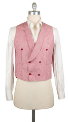 New $900 Luigi Borrelli Red Wool Micro-Houndstooth Vest - (LBVEST170240) - Parent