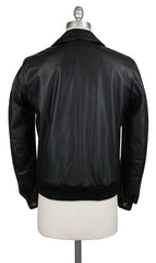 New $2650 Luigi Borrelli Black Leather Solid Jacket - (OW3121X10) - Parent