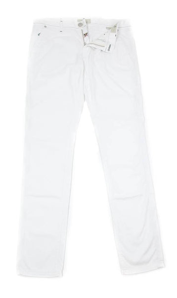 New $400 Luigi Borrelli White Solid Pants - Super Slim - 34/50 - (PAR29310500)