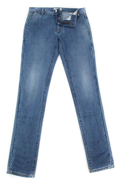 New $450 Luigi Borrelli Denim Blue Jeans - Super Slim -  33/49 - (PARJ01201M)